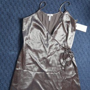 Metallic Wrap Dress